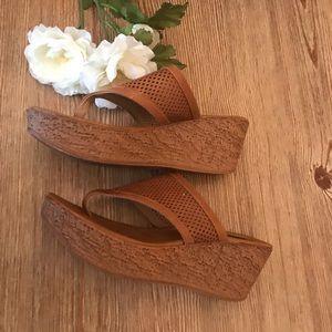 Shoes - Cork wedge slide on sandals
